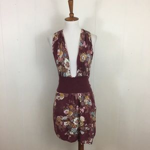Free People Plunging Floral Sweater Tunic Dress